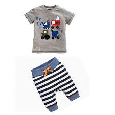 2pcs Newborn Baby Boys Cartoon Car T-shirt + Striped Oants Summer Casual Clothes