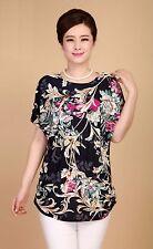 Le Donne Floreale Chiffon Stampato Top T Shirt Camicetta Sciolto Manica Corta Camicetta UK