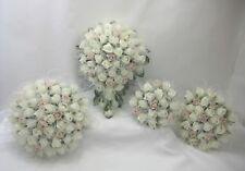 Wedding Bouquets, Ivory Mocha Blush Pink  Brides Teardrop,Bridesmaid Posy, Wand