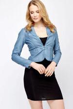 Women's peplum leather cropped beige pink nude blue waist blazer jacket S M L XL