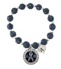 Custom ALS Lou Gehrig's disease Awareness Blue Bling Bracelet Jewelry Initial