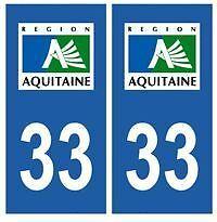 stickers autocollants plaques immatriculation auto Département Gironde 33