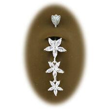 Piercing Nombril 3 Fleurs Argent 925 + Cristal Blanc du Dessus Serti Argent 925