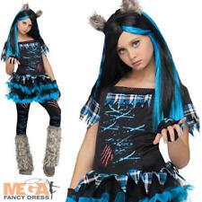 Werewolf Wolfie Girls Fancy Dress Halloween Spooky Kids Childrens Costume Outfit