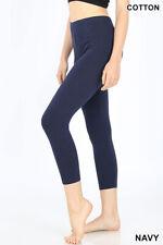 3210818f4082fc Womens Capri Leggings 3/4 Length Basic Cotton Span Stretch Active High Waist