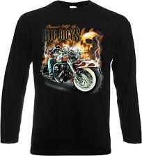 Long Sleeve Shirt In Black With Biker, Chopper Old School Motif Big Boys