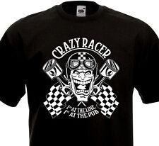 Tee Shirt CRAZY RACER - Mad Biker Race Vintage Motorcycle BSA Norton Triumph BMW