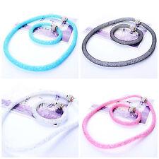 Kette Glasperlenkette bunt weiß türkis rosa schwarz Strass Strickkette Collier