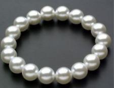 Genuine Hot 8-10-12-14-16MM White Shell Pearl Beads Stretch Bracelet Bangle