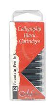 12 Manuscript Ink Pen Cartridges - International - Black Blue Sepia or Assorted