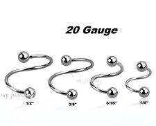 "2pcs. Thinnest 20g~1/4""- 1/2"" Steel Balls Spiral Twister Ear Nose Tragus Labret"