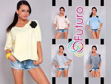 Elegant Women's Top Jumper Short Sleeve Blouse V Neck Tunic Size 8-12 FT956