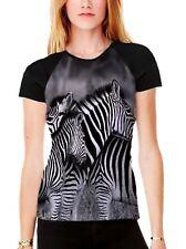 Three Zebra's Heads Women's All Over Graphic Contrast Baseball T Shirt