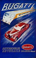 006 Vintage arte publicitario de transporte Bugatti
