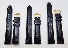 Black Genuine Crocodile Skin Watch Band Strap 18mm 19mm OR 20mm Regular OR Long