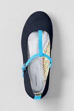LANDS' END Big Girls' 6, 7 Classic Navy Suede T-Strap Ballet Shoes NIB $39