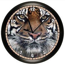 TIGER WALL CLOCK DECORATIVE GIFT DECOR BIG CAT WILD JUNGLE SAFARI LION ANIMAL