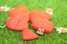 Beautiful 32 GB inciso Rosso Penna/Heart Flash Drive Memory Stick Regalo di archiviazione USB
