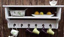 Rustic shabbyChic Cup holder/ kitchen unit/ Mug rack with shelf/ spice rack wood