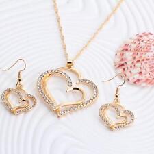Damen Schmuck Set Halskette Herz Anhänger Ohrringe 18 K Gold plt. 925 Silber plt