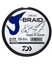 Daiwa J-Braid X4 - 4 Strand Braided Line - 135m Spool - All Breaking Strains