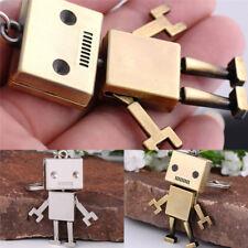 Cute Movable Metal Robot Keychain Keyring Keys Chain Ring Bag Purse Pendant HLZY