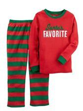 Carters Boys Red & Green Santa's Favorite Pajamas Holiday Sleepwear Set