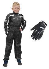 Niños Wulfsport Wulf MX Quad MotoCross negro overall y Guantes Negro Set #O6