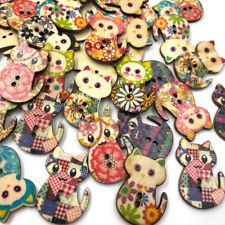 100pcs Mix Wooden Cat Buttons Lot Craft/Kids Sewing Embellishment 30mm W467