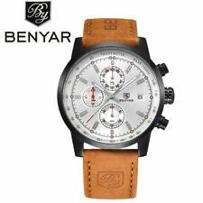 BENYAR 3ATM Genuine Leather Band Aviator Army Date Men Quartz Sport Wrist Watch