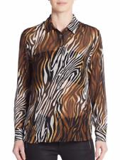 NWT Equipment Leema Silk Animal-Print Blouse Multiple Size S $250.00