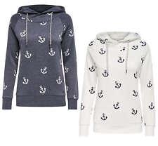 ONLY Damen Sweatshirt Pullover LISA NEW ANCHOR SWEAT Anker Shirt Hoodie Kapuze