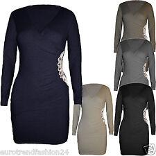 Damen Fein Strickkleid Long Pulli Pullover Wickelkleid Look Minikleid S/M L/XL