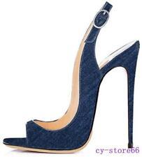Occident Runway Sexy Womens Sandal Open Toe Stiletto Denim High Heels Club Shoes