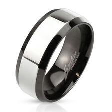 Herren Damen Ring Schwarz Silber poliert Damenring Edelstahl Band Ring Glossy