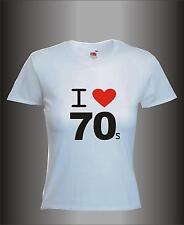 I LOVE 70`S - BLACK PRINT MENS WOMENS KIDS RETRO DISCO COOL FANCY DRESS T-SHIRT