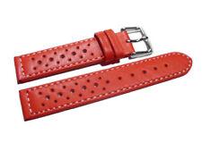 Bracelet de montre - cuir de veau perforé - surpiqué - rouge 16,18,20,22 mm NEUF
