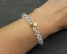 Herz Stern Kristall Glass Perlen Armband Glassperlen Perlenarmband Rosa Blau NEU