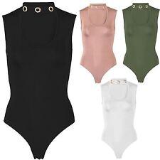 New Ladies Choker Neck Sleeveless Leotard Bodysuit Eyelet Embellished Body Top