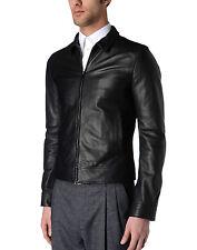 DE Herren Lederjacke Biker Men's Leather Jacket Coat Homme Veste En cuir R56d