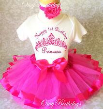 Princess Crown Hot Pink baby Girl 1st First Birthday Tutu Outfit Shirt Set