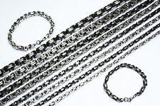 Königskette mit Armband Set Panzerkette Edelstahl silber schwarz  45-70 cm