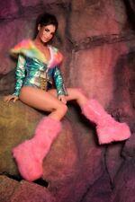 "5"" Baby Pink Fur Monster Platform GoGo Dancer Rave EDC Festival Boots Woman Size"
