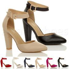 Femmes haute large talon boucle lanière pointu escarpins chaussures pointure