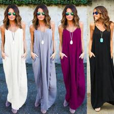 Womens Oversize Maxi Dress Long Casual Sleeveless Cami Loose Strappy Boho Summer
