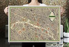 Paris City View World Map Vintage Silk Canvas Fabric Poster Paint Wall Decor 54