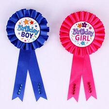 Unqiue Birthday Girl Boy Award Ribbon Rosette Badge Pin Children's Party Top FO