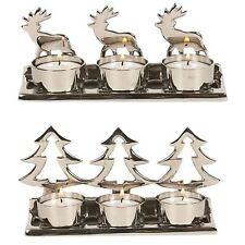Straits Home & Gift Reindeer/ Christmas Tree Silver metal Tealight Holders 16973