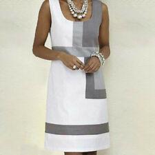 Women Ladies Casual Shift Geometric Print Dress O-Neck Sleeveless Mini Dresses