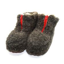 100% Sheep Wool Boots Cozy Foot Slippers Soft Sole Sheepskin Womens Mens Grey